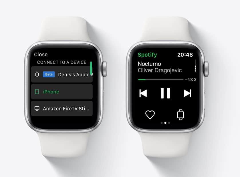 Streaming de música do Spotify no Apple Watch