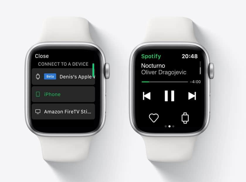 Streaming de música do Spotify no Apple Watch