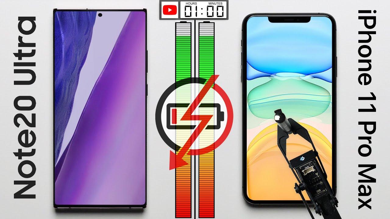 Teste de bateria: iPhone 11 Pro Max vs. Samsung Galaxy Note 20 Ultra