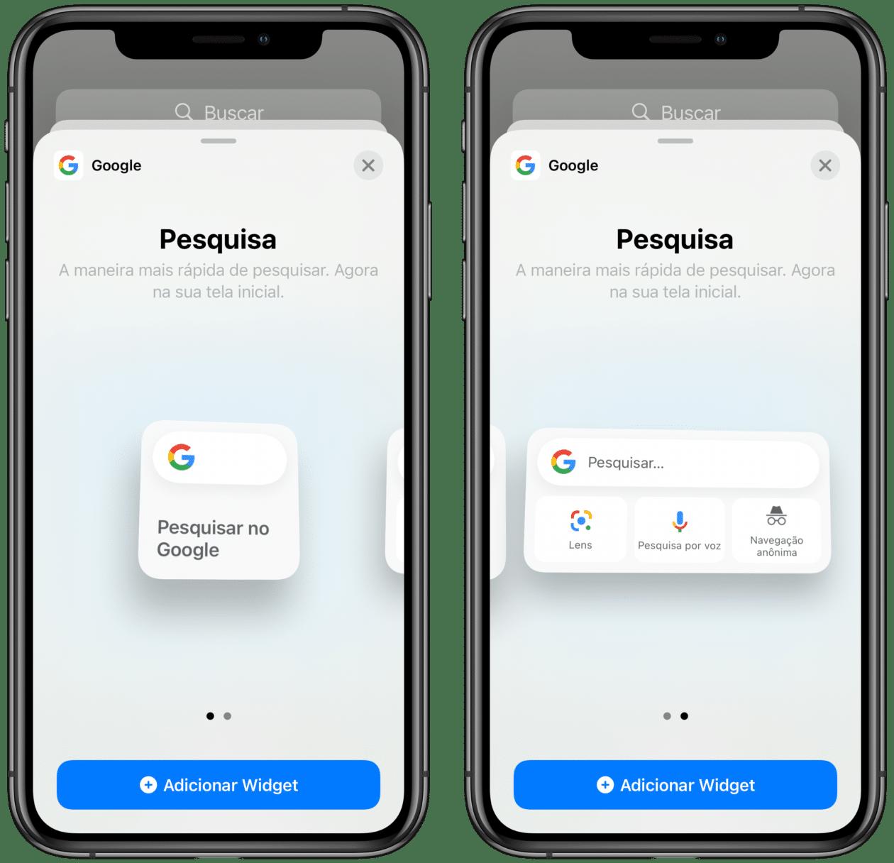 Widget do Google no iOS 14