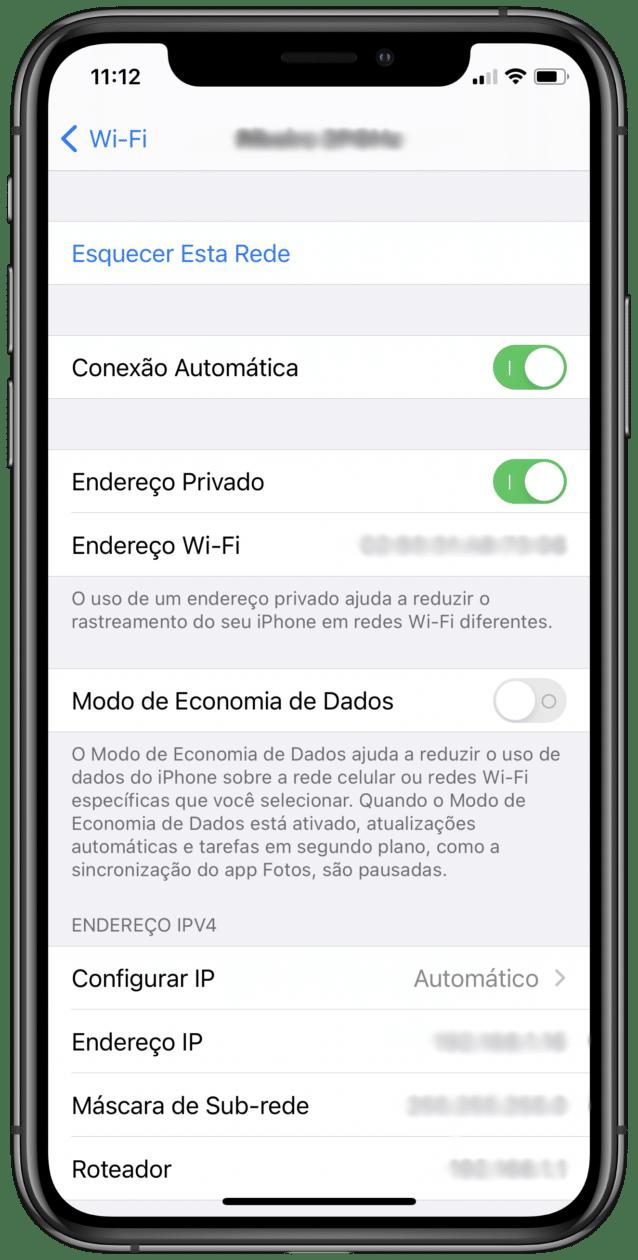 Ajuste de Endereço Privado no iOS 14