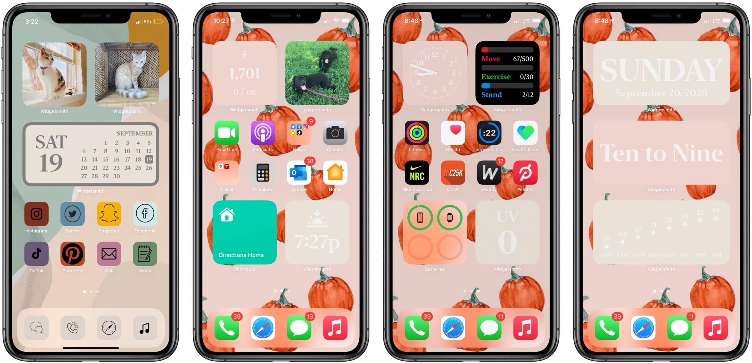 Widgets do Widgetsmith na tela inicial