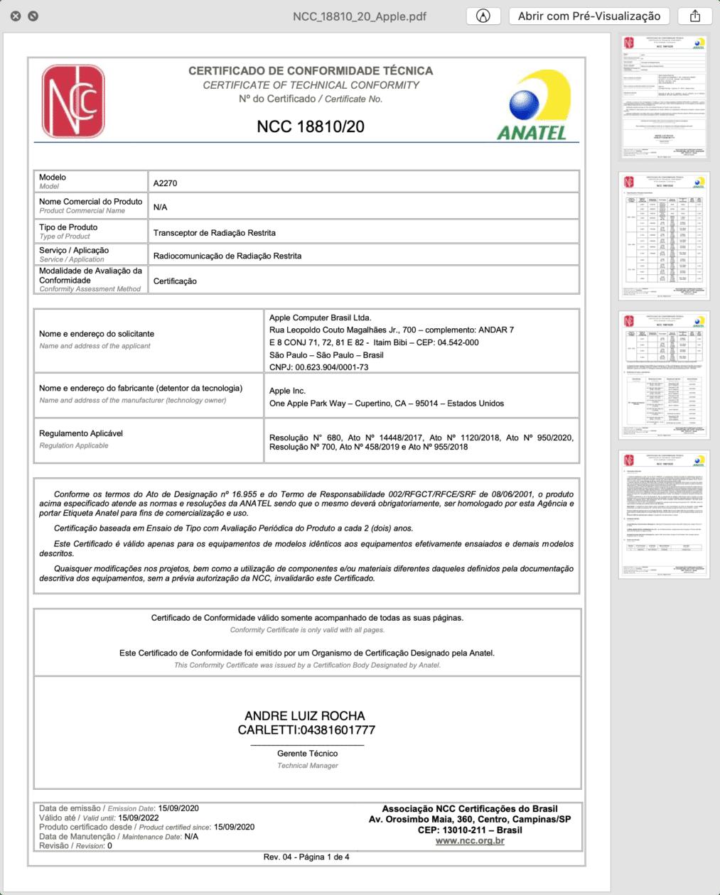 Certificado de Conformidade Técnica do novo iPad de 8ª geração Wi-Fi