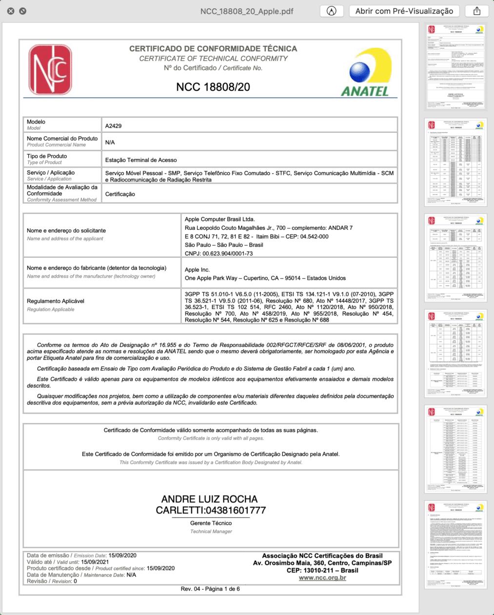 Certificado de Conformidade Técnica do novo iPad de 8ª geração Wi-Fi + Cellular