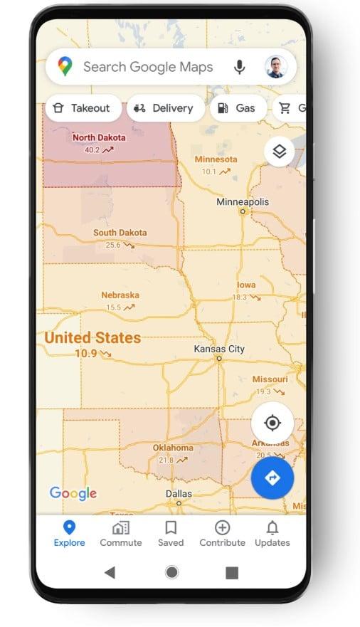 Camada da COVID-19 no Google Maps