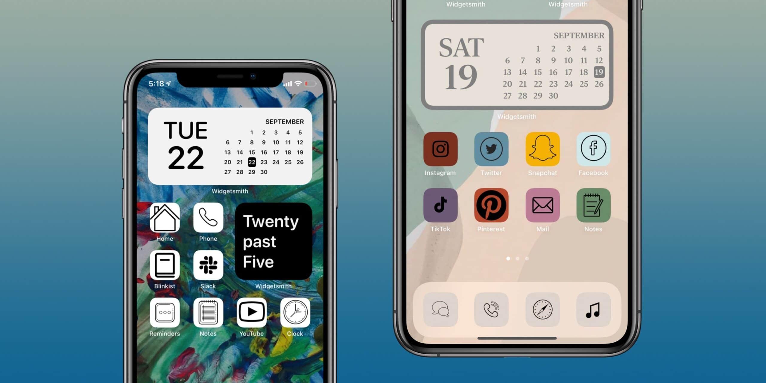Ícones personalizados na tela inicial