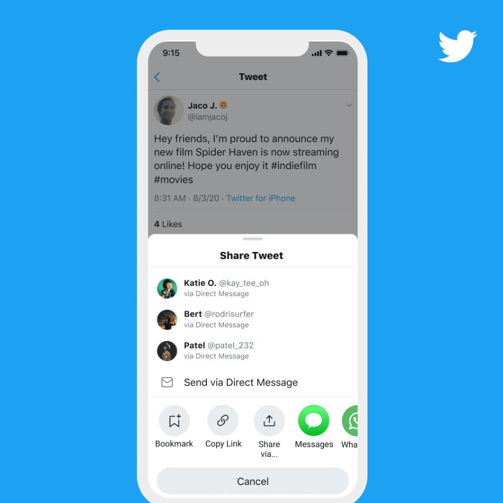 Twitter para iOS ganha nova folha de compartilhamento com sugestões de apps