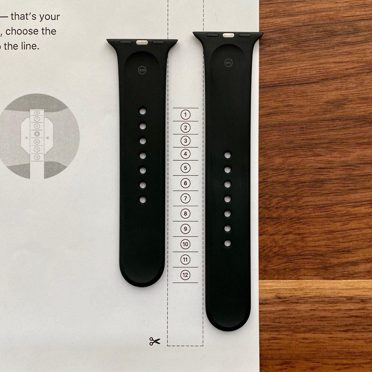 Comparação: tamanhos da pulseira esportiva e das pulseiras loop solo e loop solo trançada