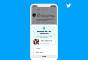 Alerta para leitura de artigo do Twitter