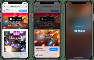 App Clip do jogo Phoenix 2