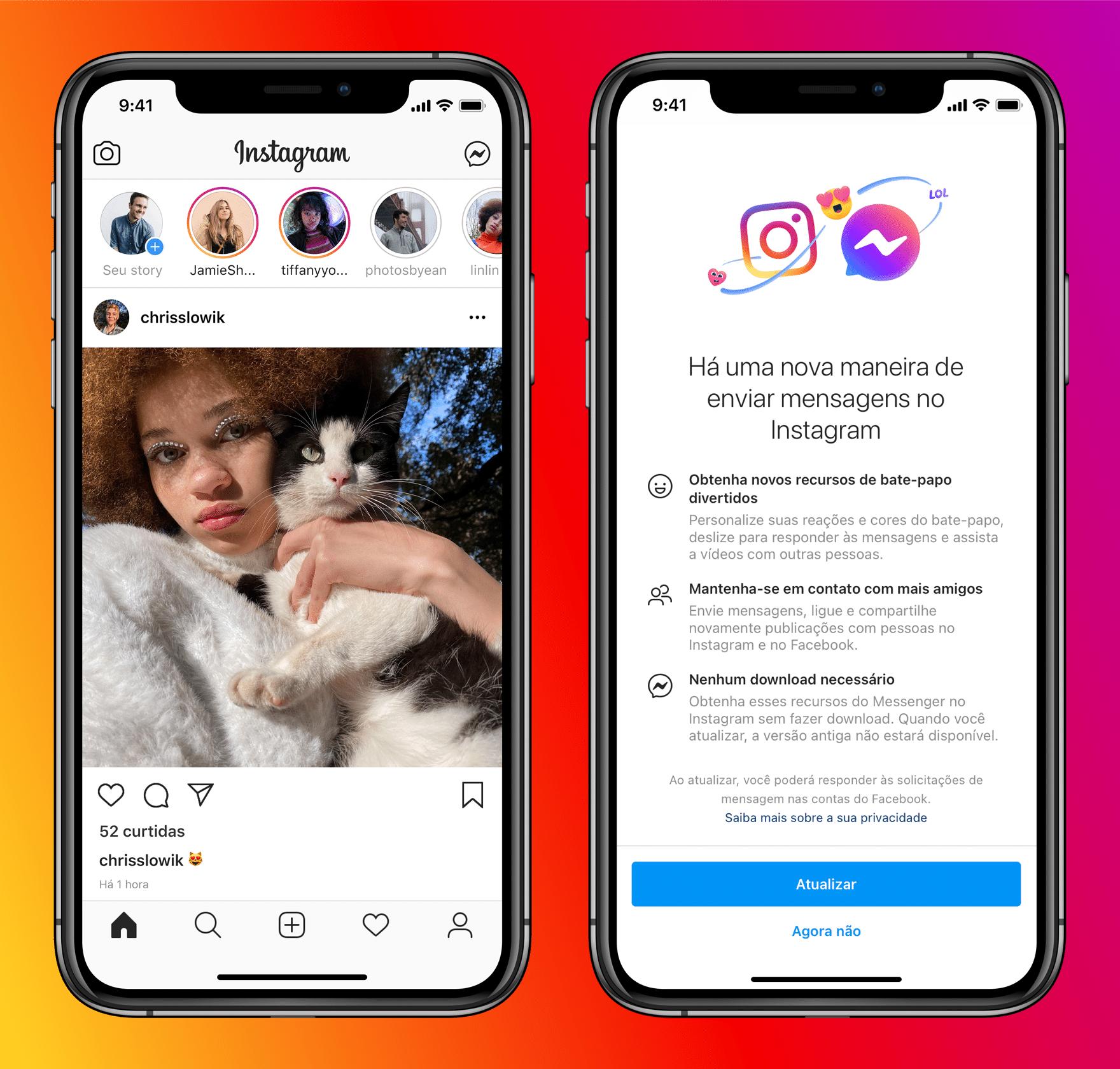 Integração entre Messenger e Instagram