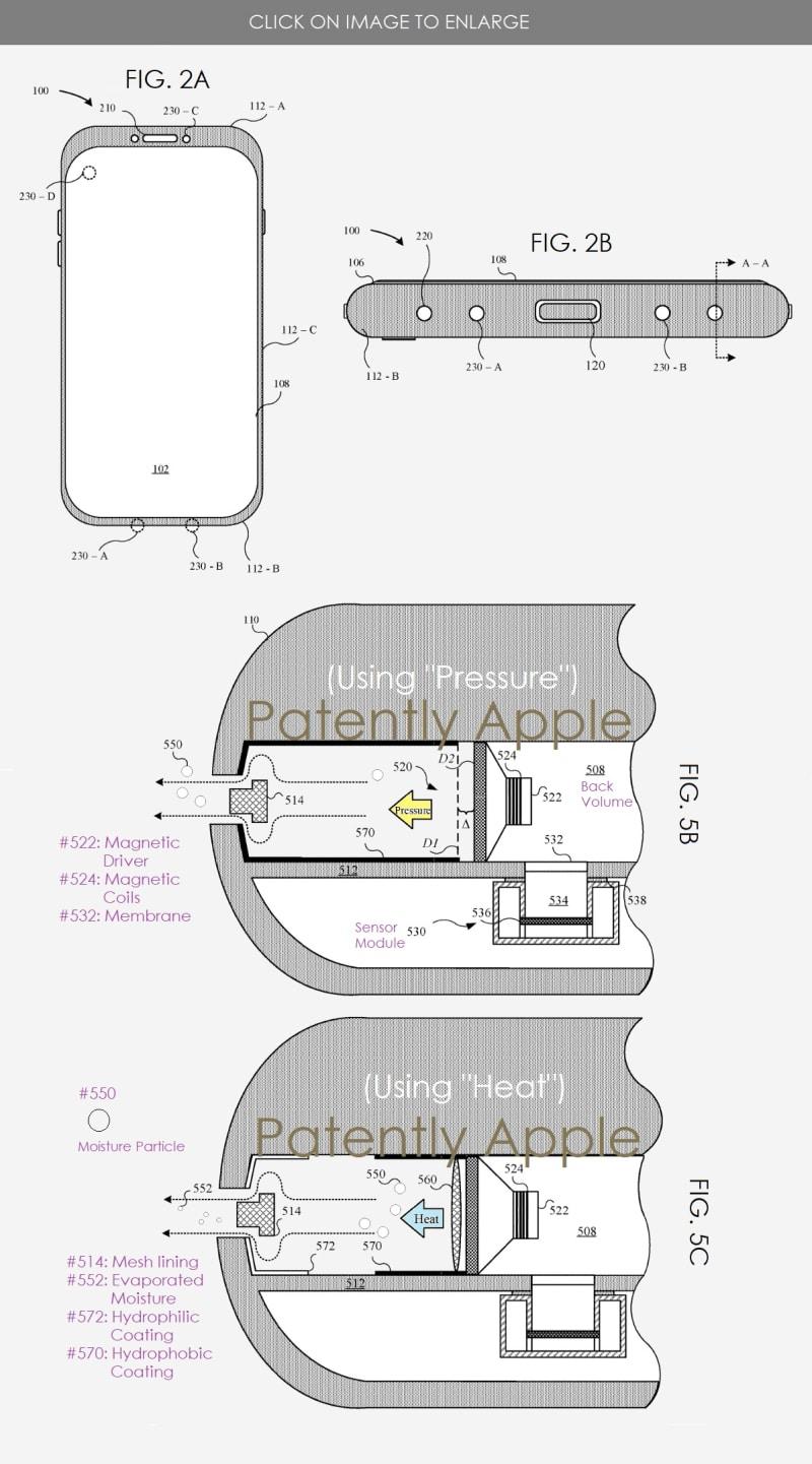 Patente para alto-falantes de iPhones que expelem água