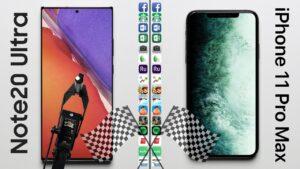 Teste de velocidade entre iPhone 11 Pro Max e Galaxy Note 20 Ultra