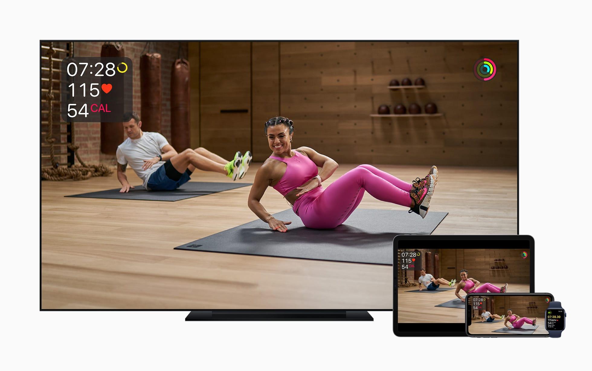 Apple Fitness+ em telas