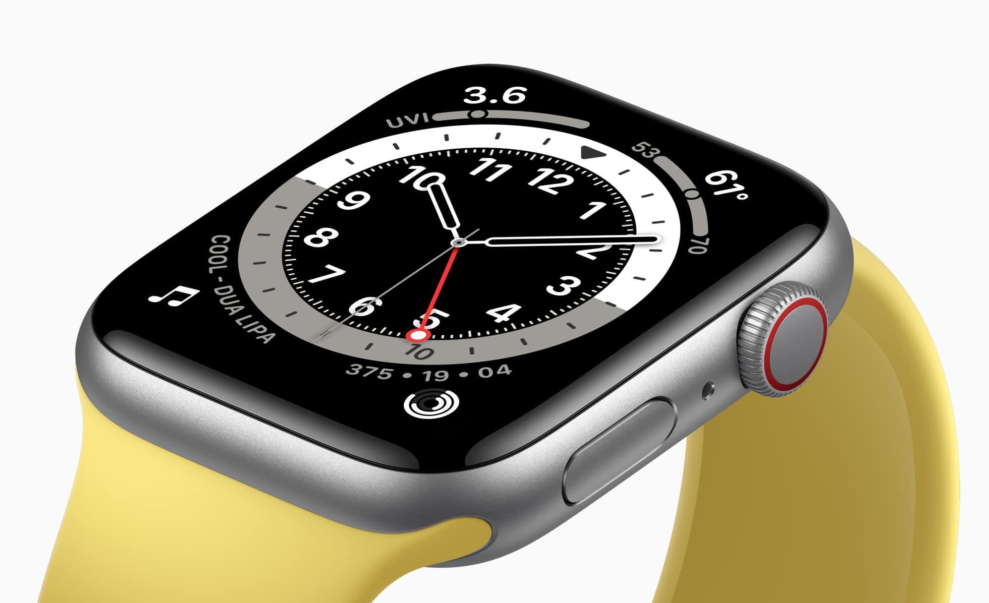 Apple Watch SE de alumínio prateado com pulseira amarela