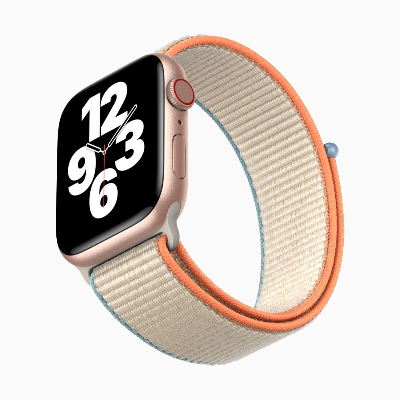 Apple Watch SE com pulseira esportiva de nylon laranja