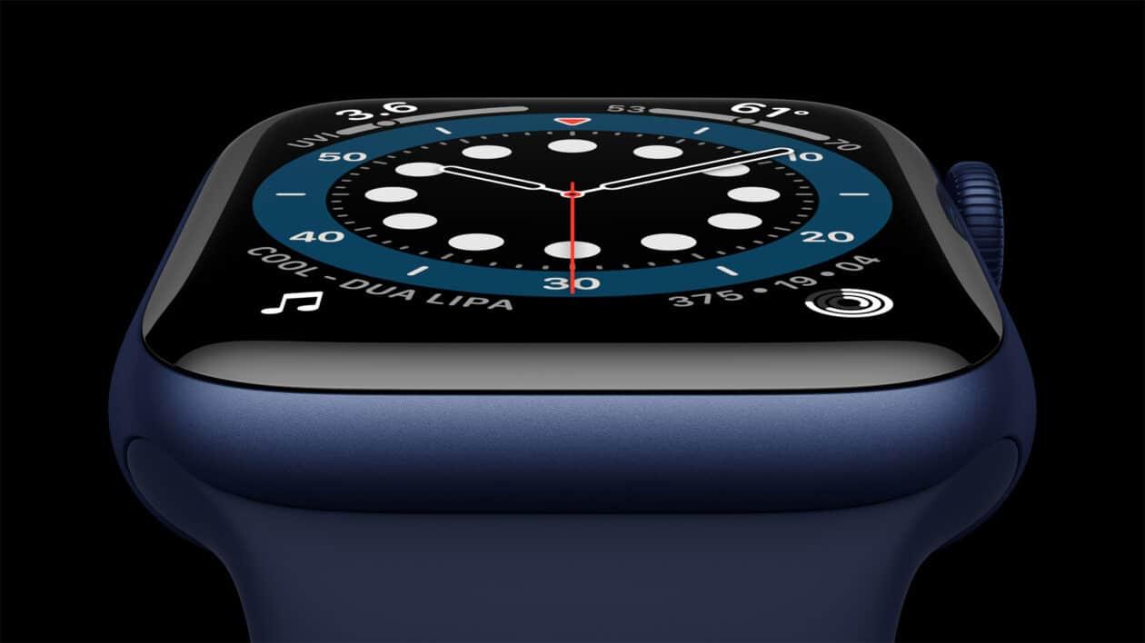 Apple Watch Series 6 de alumínio na cor azul