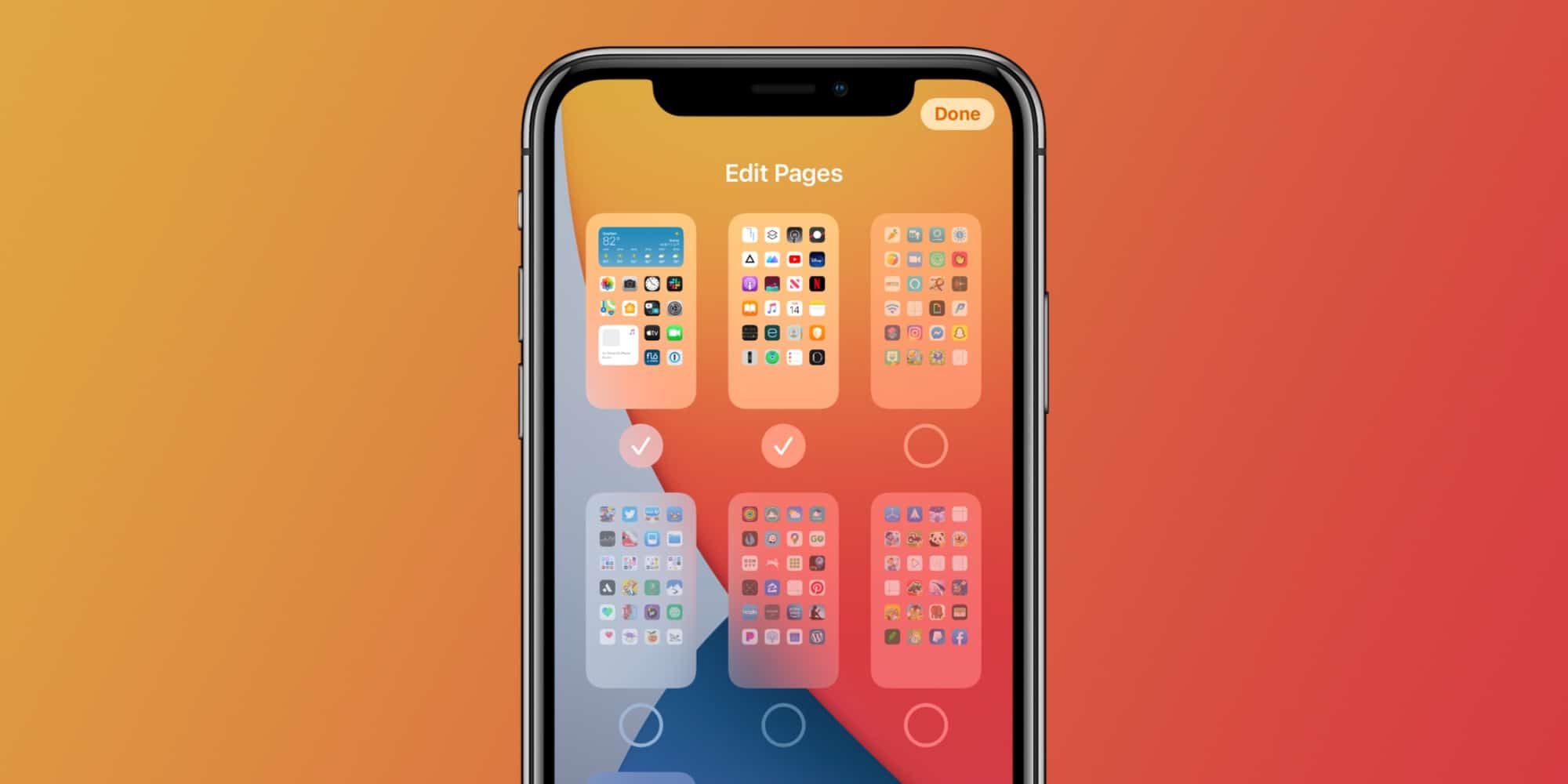 Páginas de apps no iOS 14