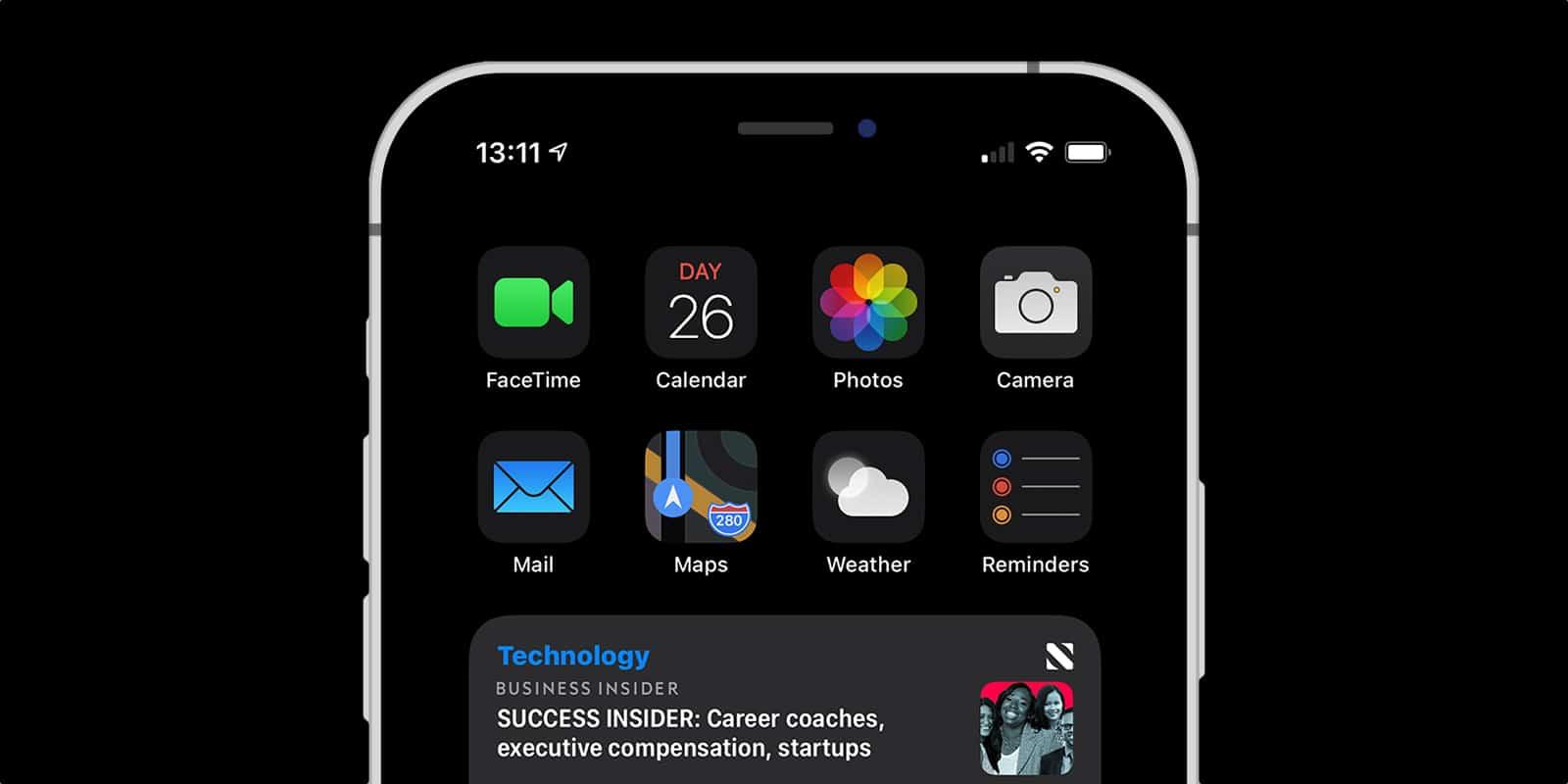 Vantaye, pacote de ícones adaptados ao modo escuro do iOS 14