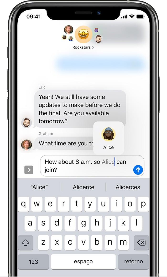 Fazer menção em mensagens no app Mensagens