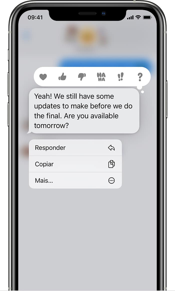 Responder mensagens específicas no app Mensagens