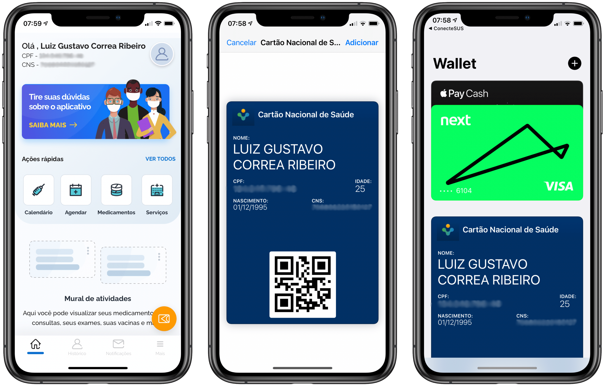 Cartão Nacional de Saúde no app Wallet