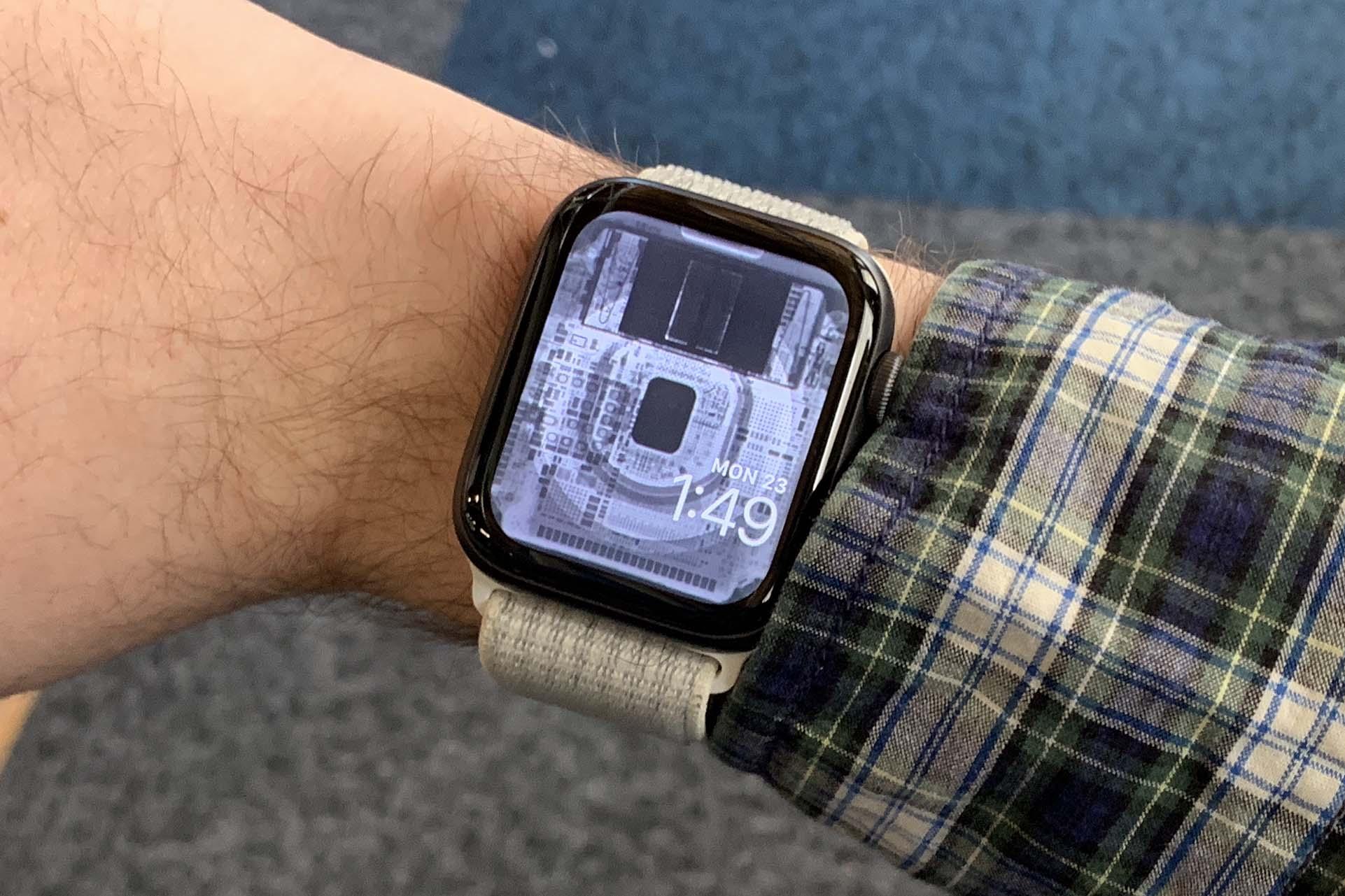 Wallpaper dos componentes internos do Apple Watch Series 5, via iFixit