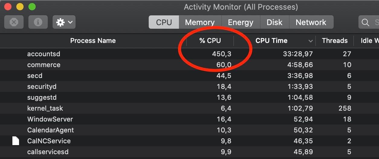 Processo accountsd exigindo 450% da CPU no macOS Catalina 10.15.7