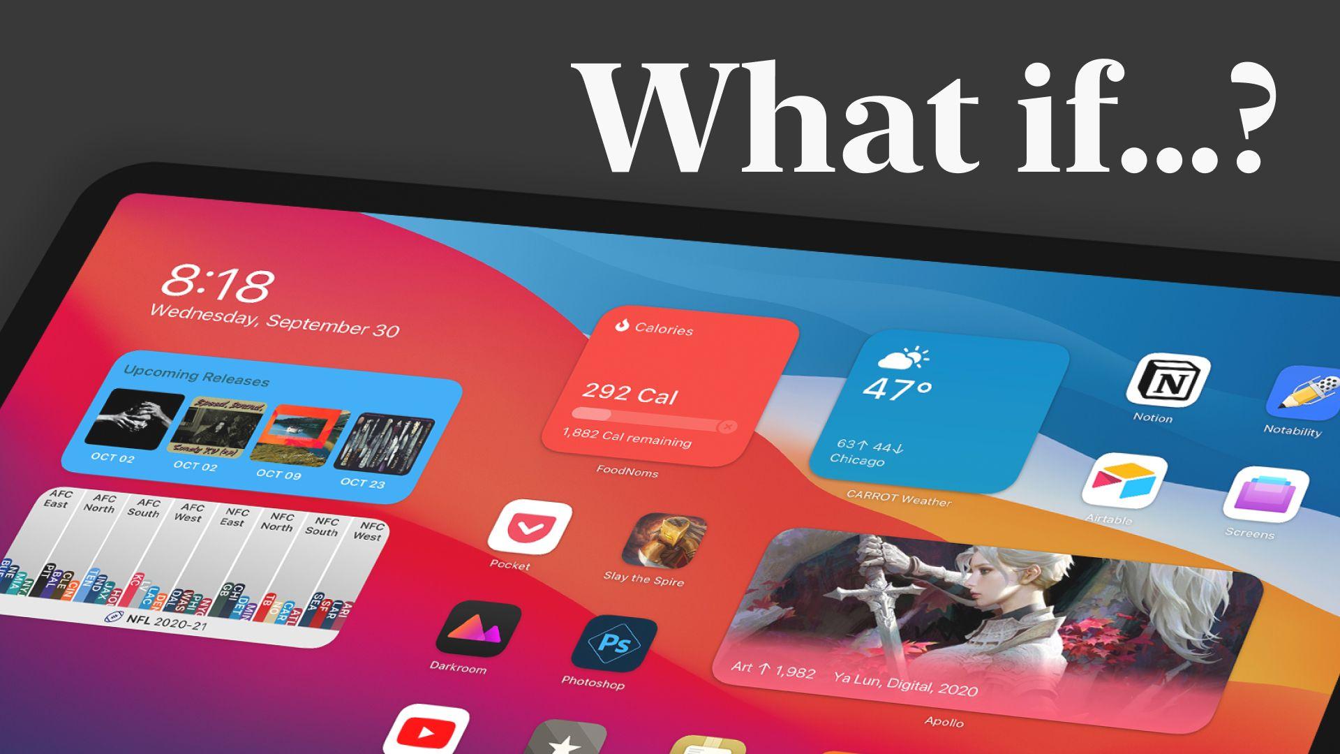 Conceito de widgets na tela de início do iPadOS 15