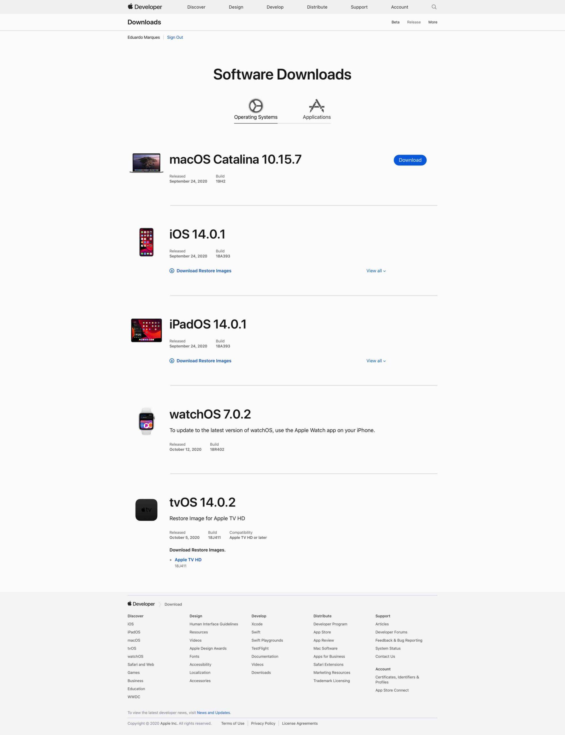 Updates da Apple no portal para desenvolvedores