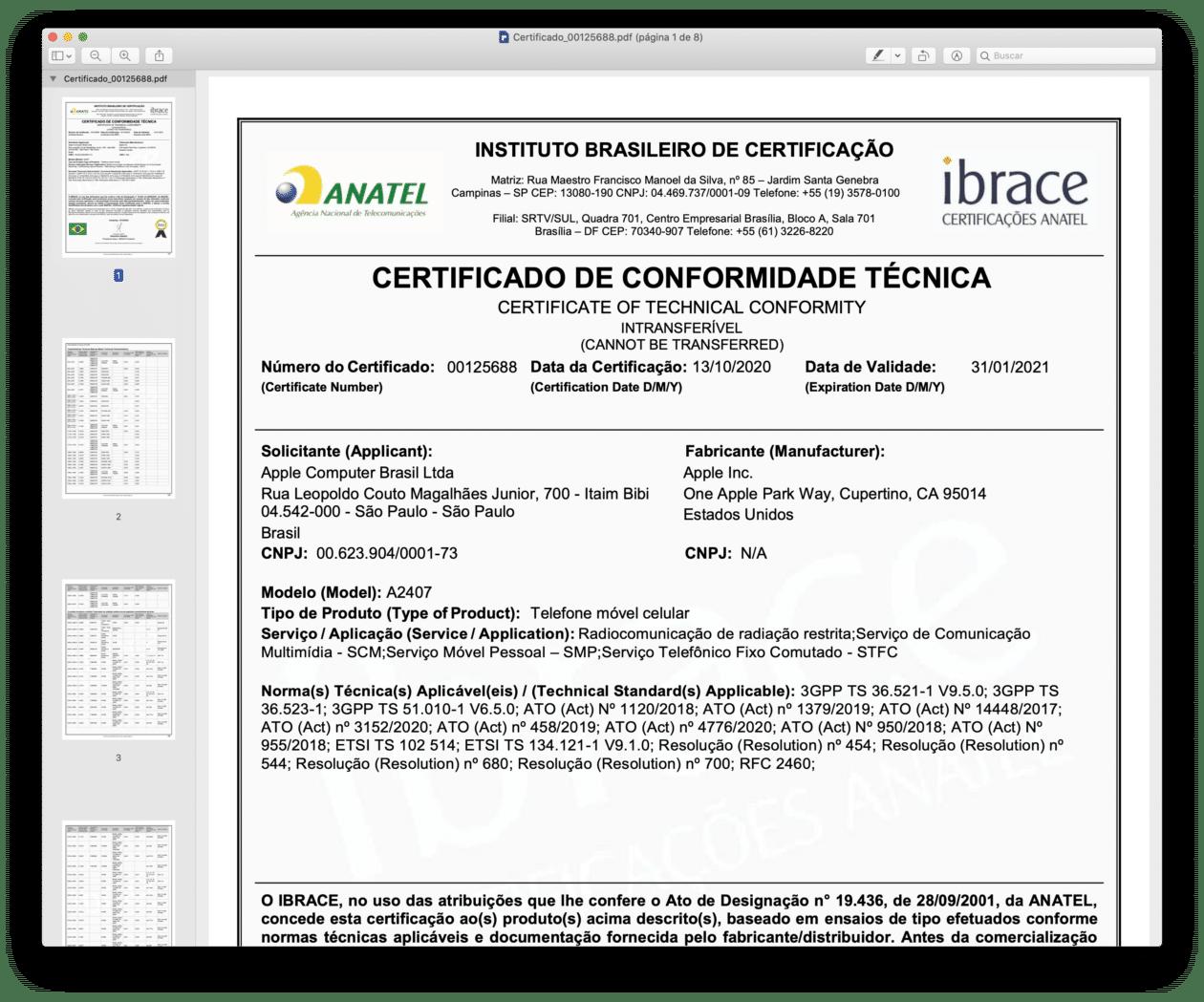 Certificado de Conformidade Técnica do iPhone 12 Pro (A2407)