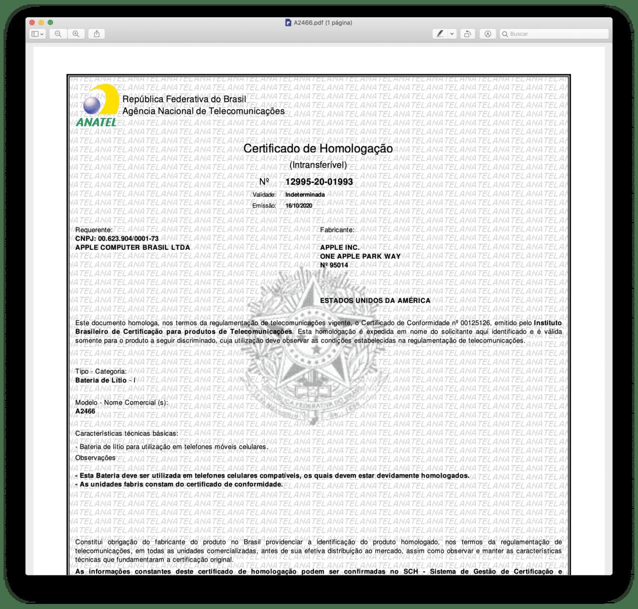 Certificado de Homologação de bateria para o iPhone 12 Pro Max (A2466)
