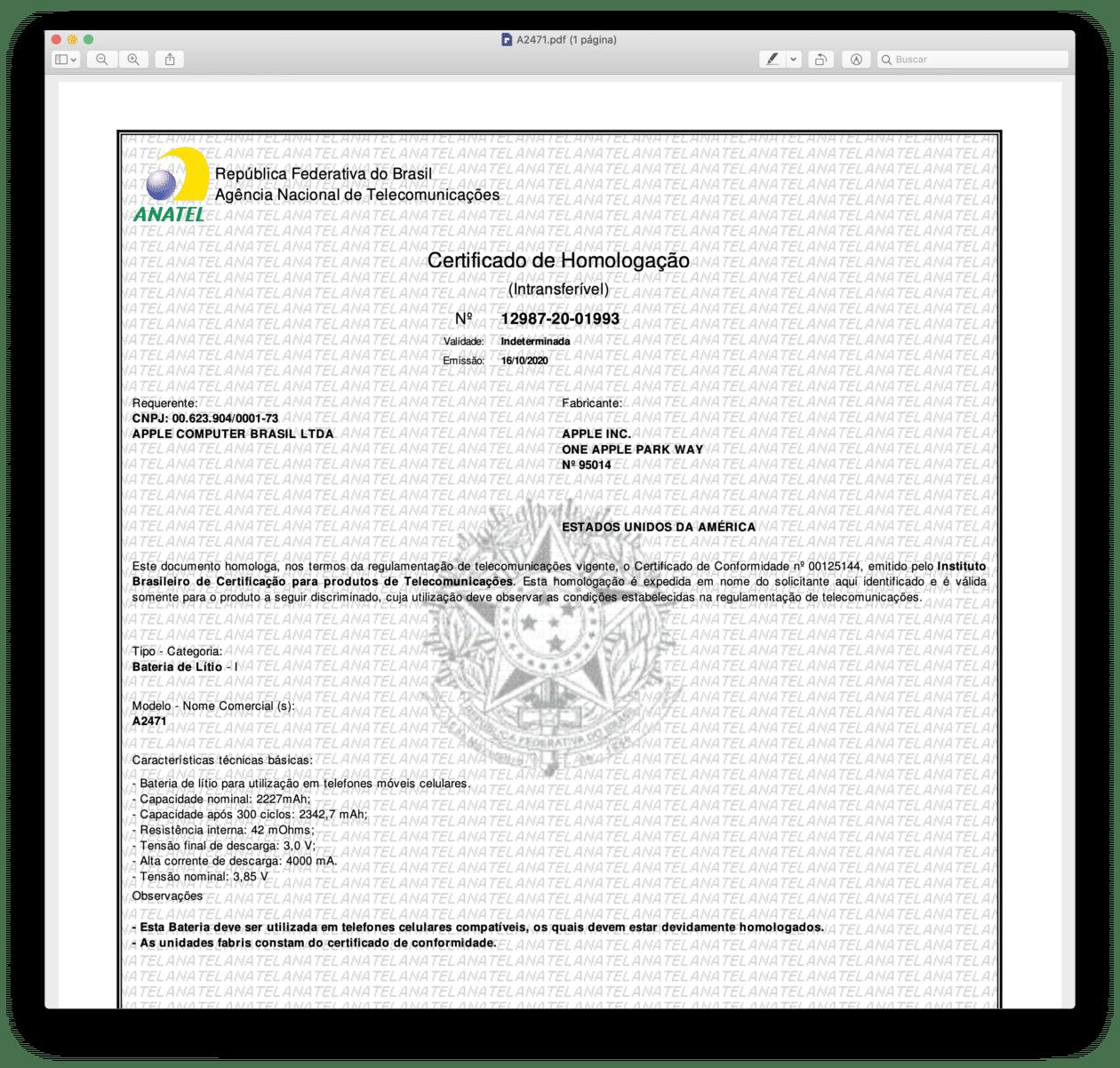 Certificado de Homologação de bateria para o iPhone 12 mini (A2471)