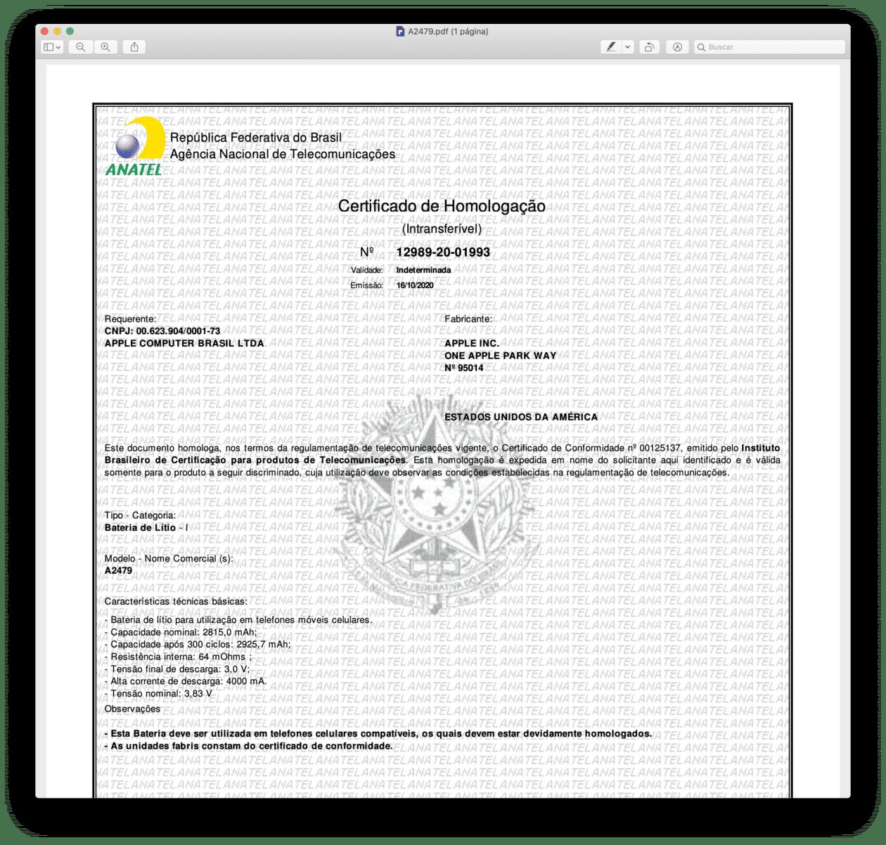 Certificado de Homologação de bateria para o iPhone 12 (A2479)