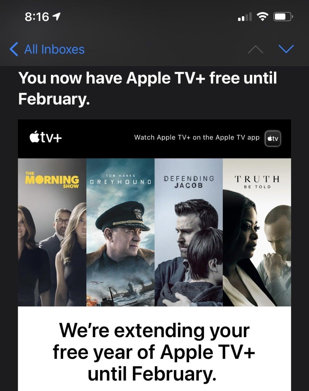 Email de alerta do Apple TV+