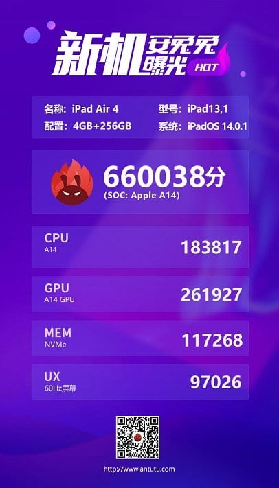 Benchmark AnTuTu do iPad Air 4
