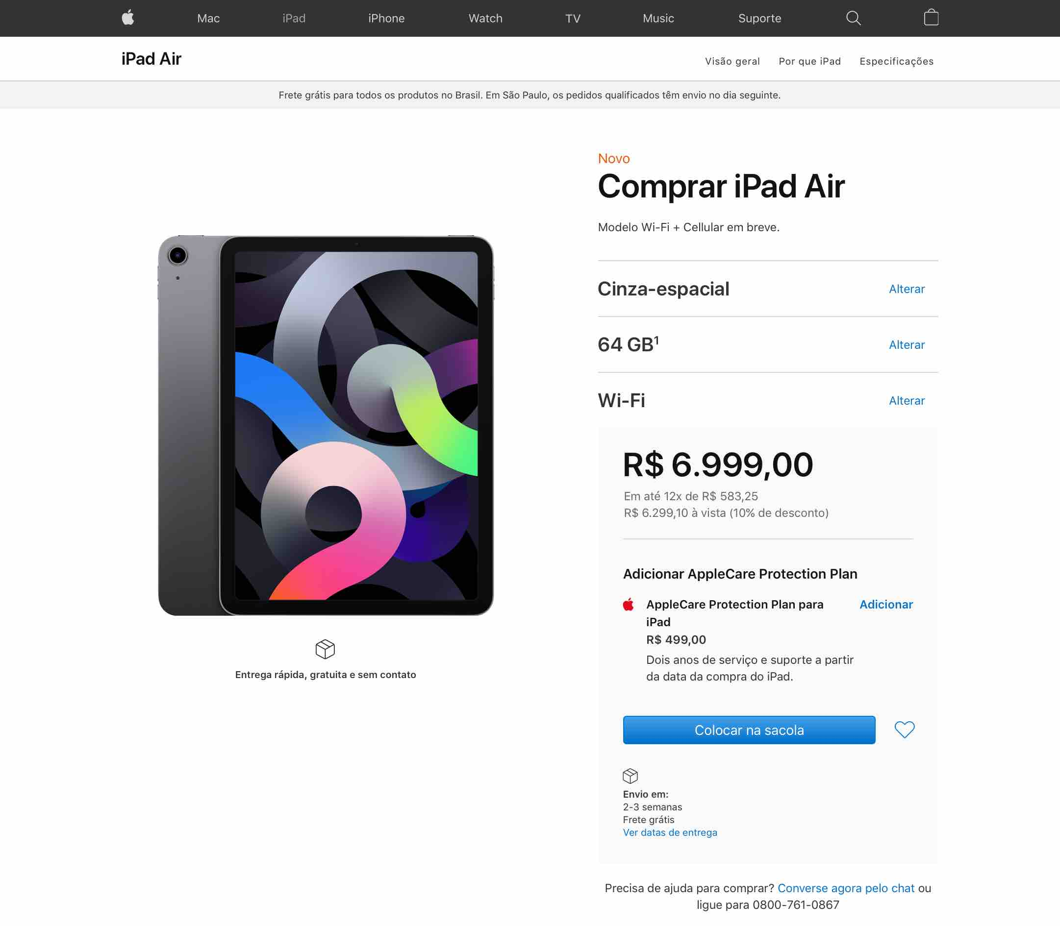 iPad Air à venda no Brasil