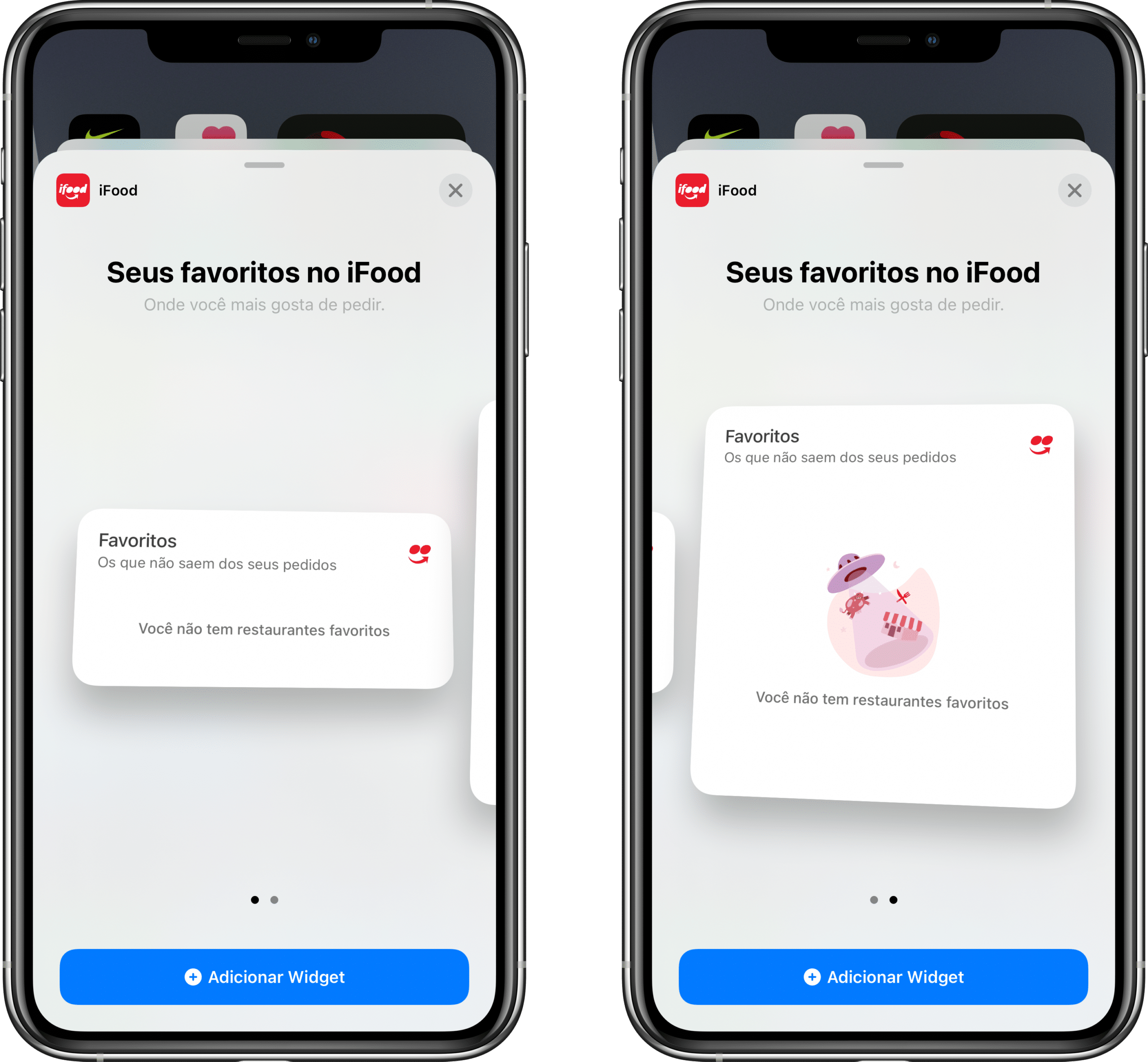 iFood com widgets no iOS 14