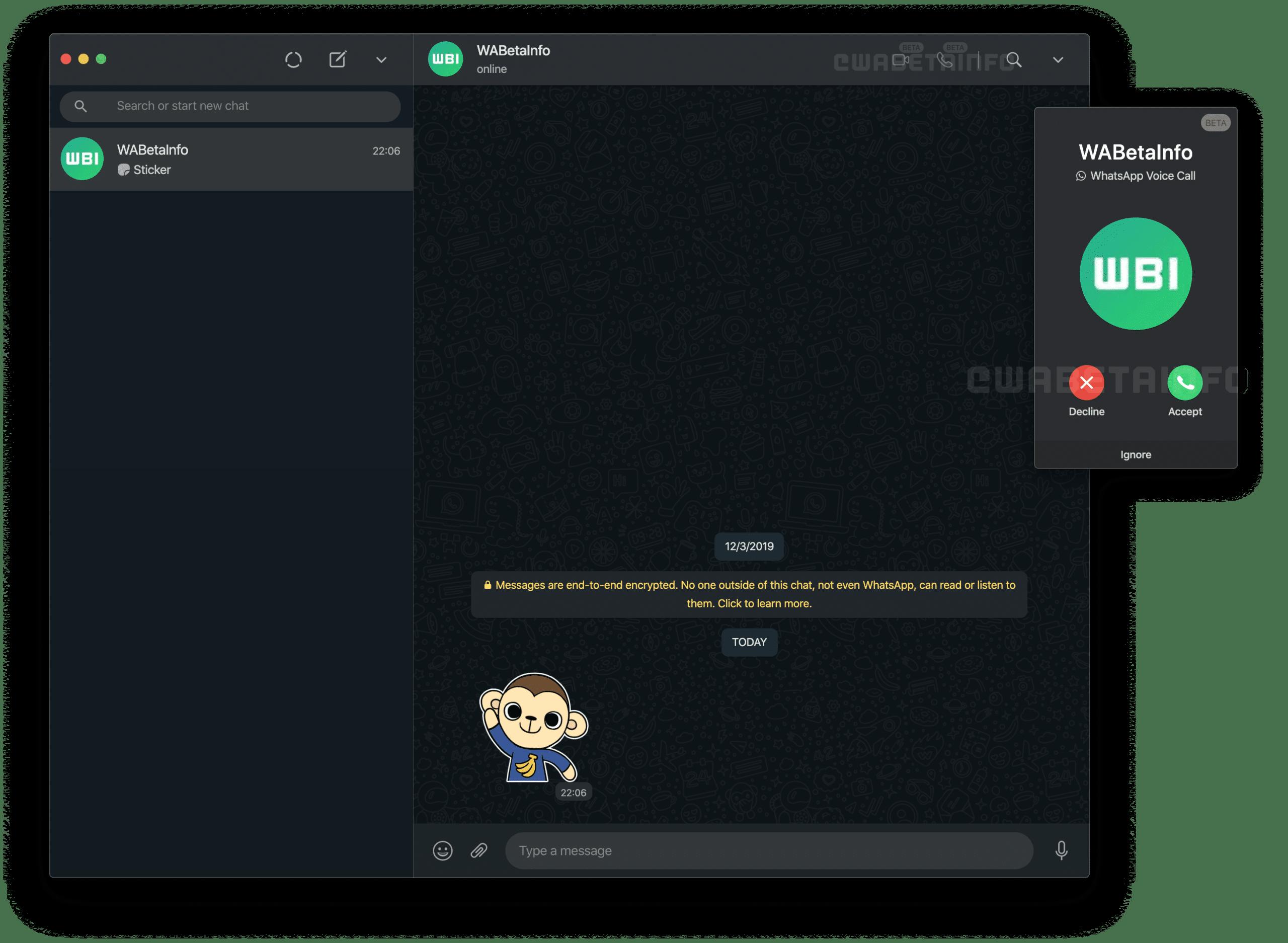 Chamadas de voz e vídeo no WhatsApp Web