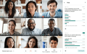 Recursos de perguntas e respostas e enquetes no Google Meet