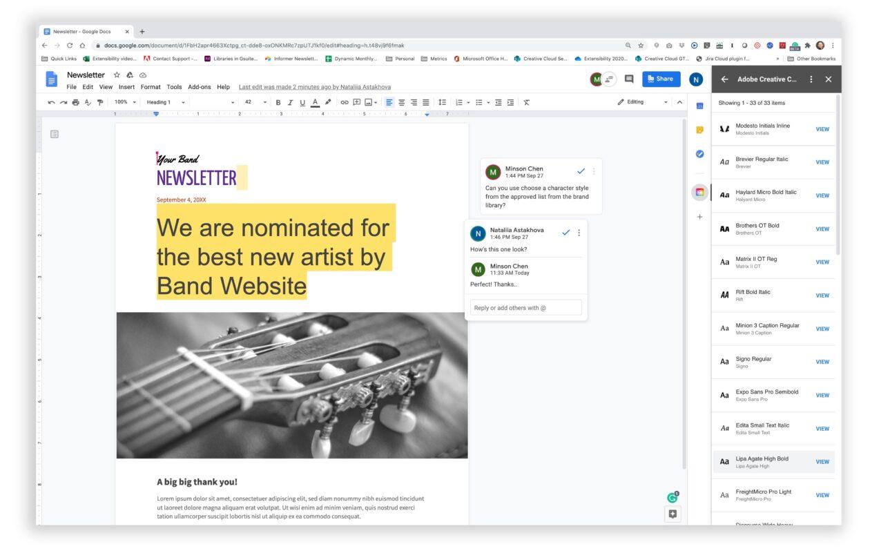 Ferramentas de compartilhamento da Creative Cloud