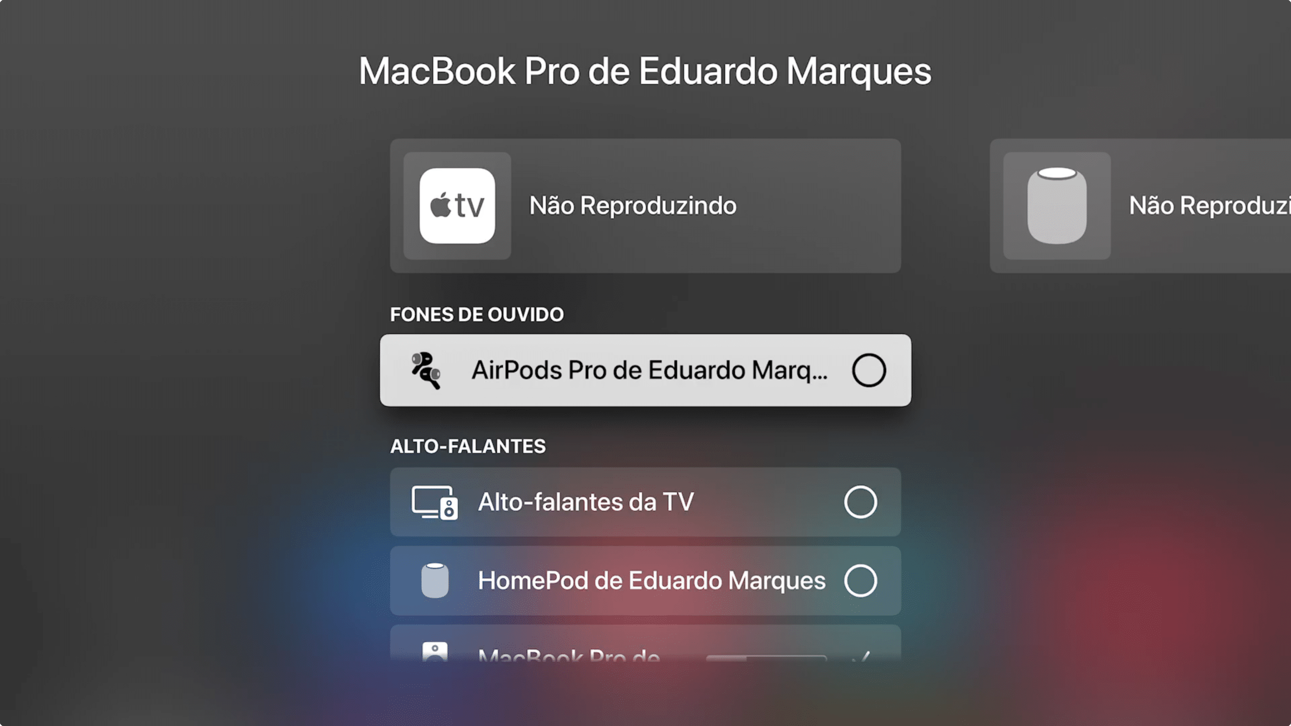 Conectando AirPods na Apple TV