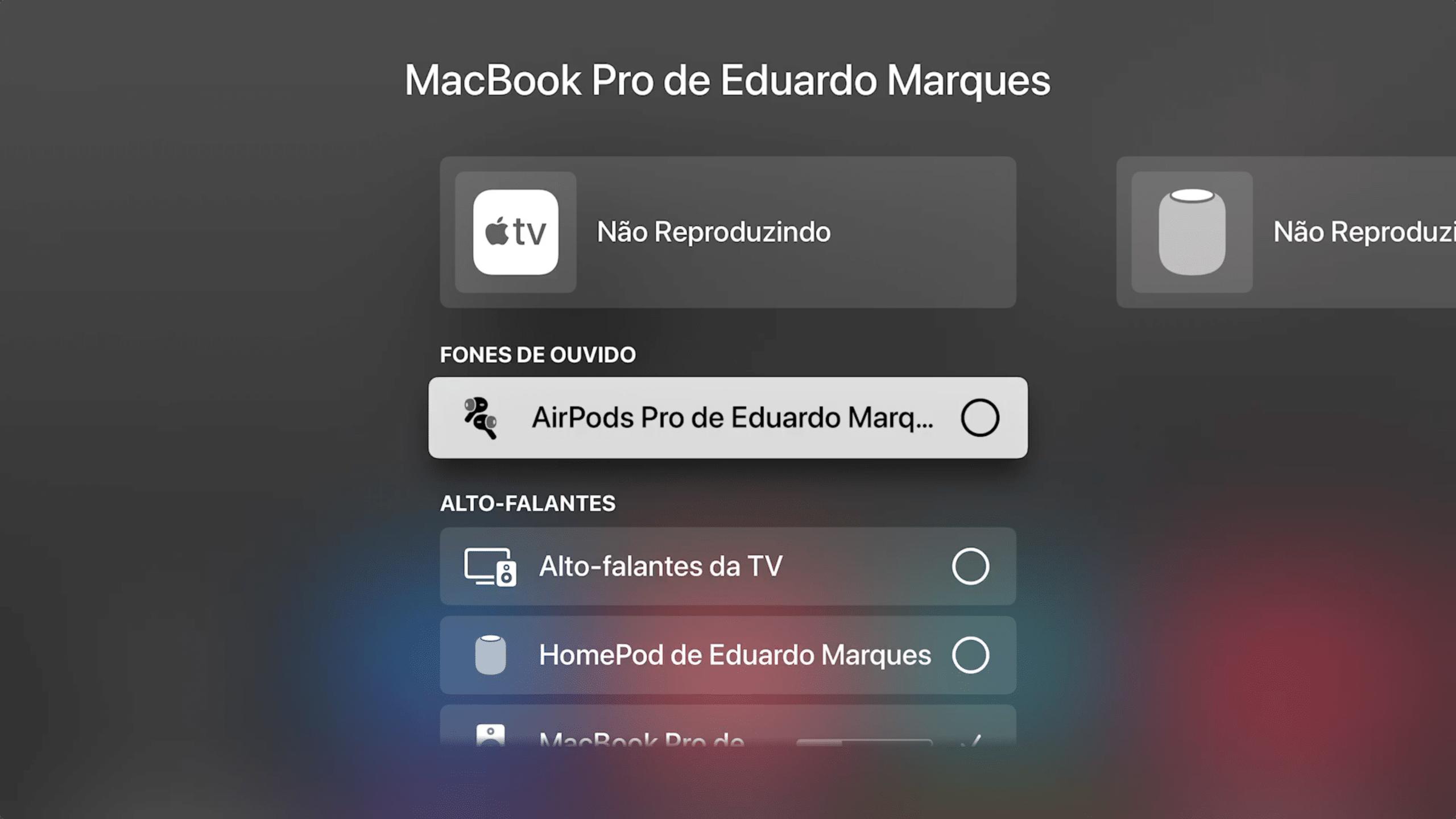 Conectando AirPods na Apple TV