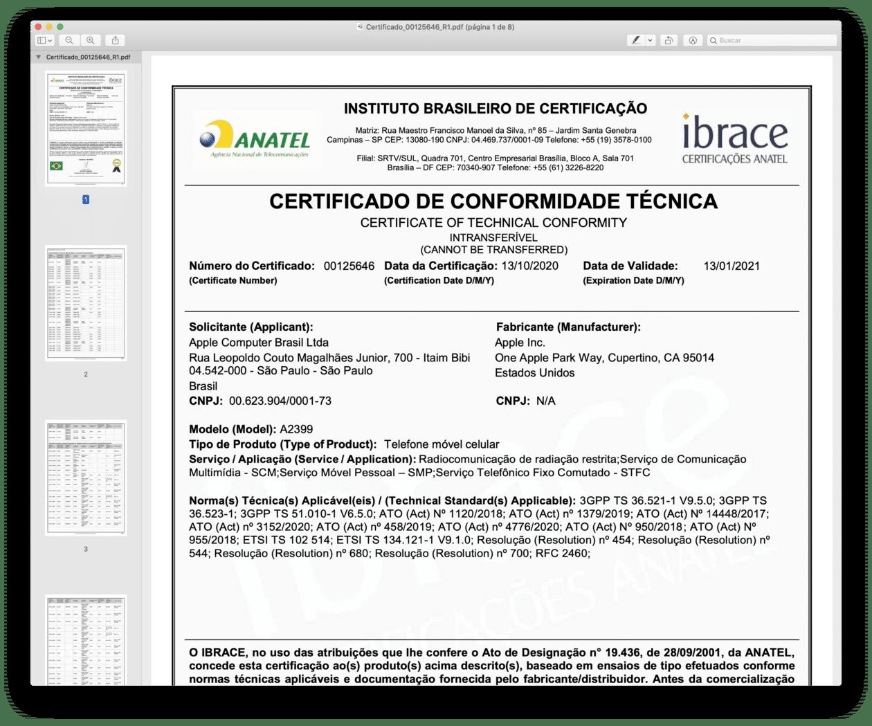 Certificado de Conformidade Técnica do iPhone 12 mini (A2399)