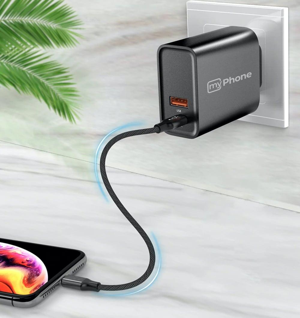 Carregador USB-A e USB-C da MyPhone