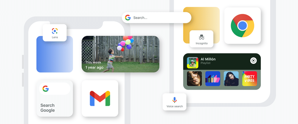 Widgets nos apps do Google
