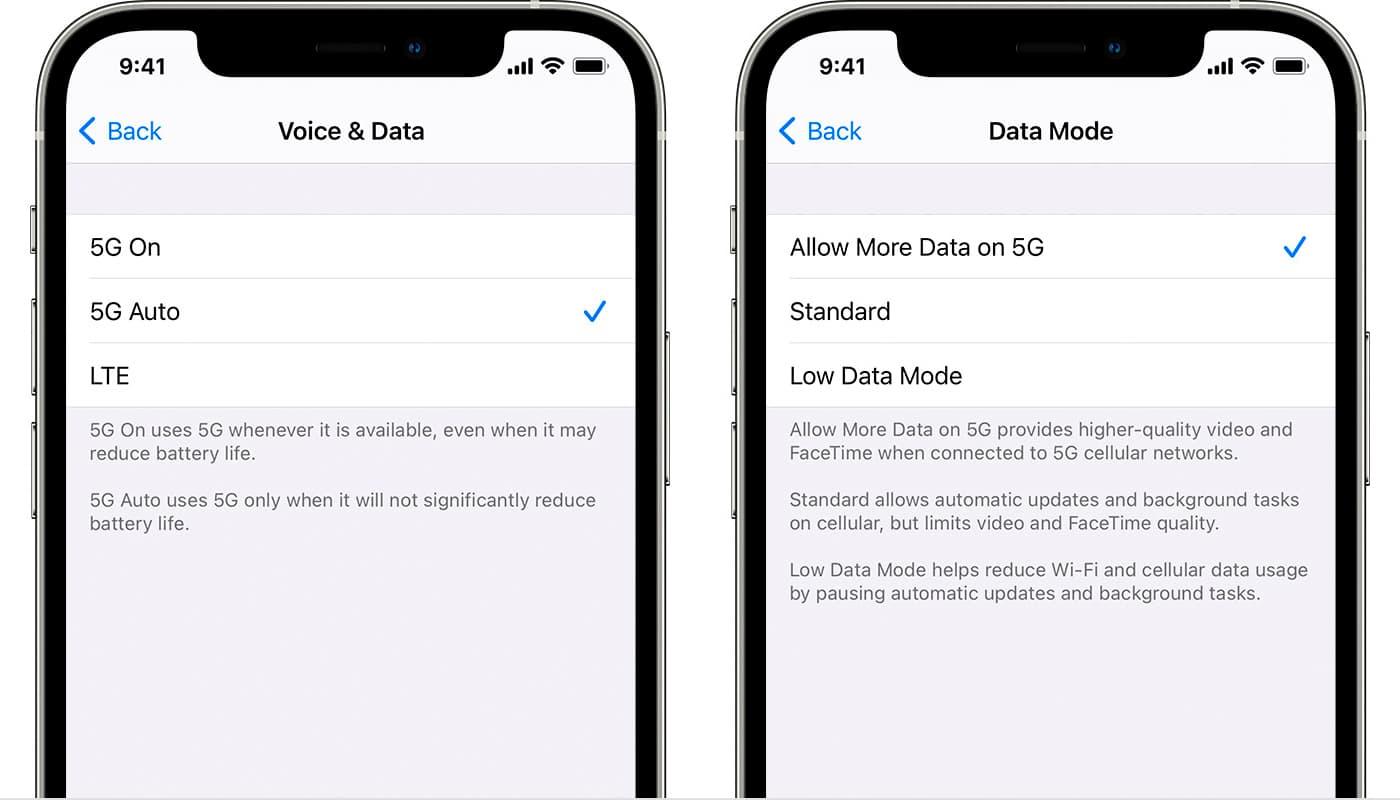 Opções de 5G no iPhone 12