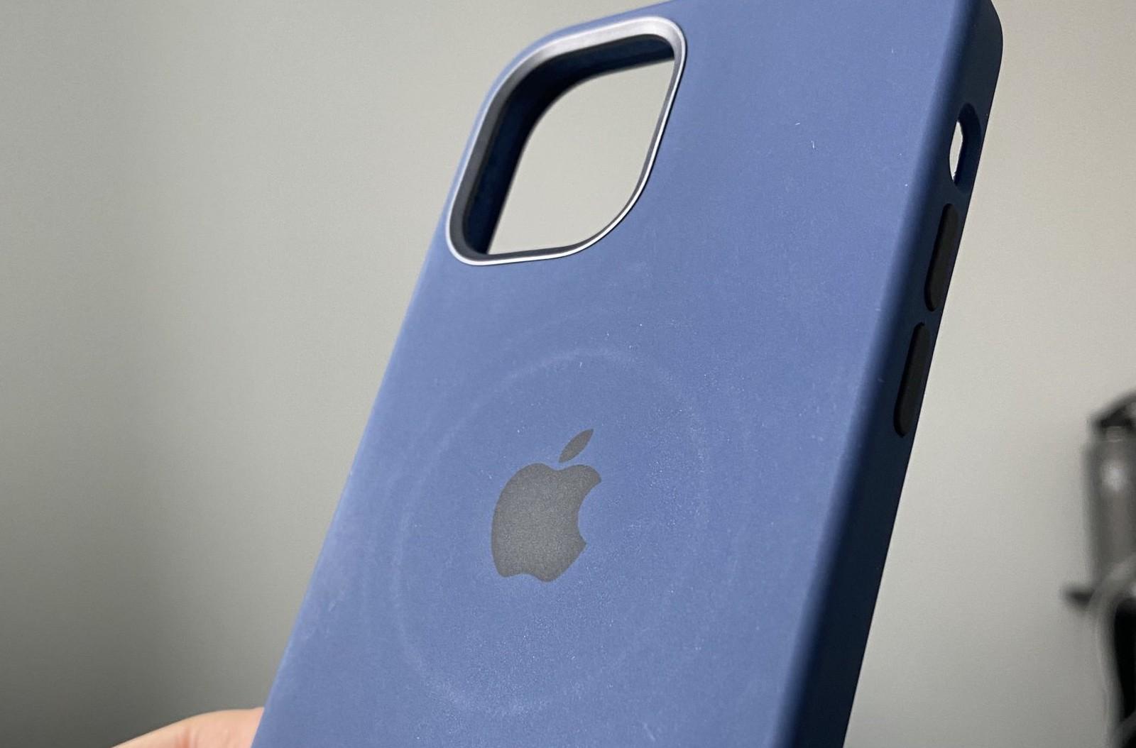 Case de silicone da Apple com marca do carregador MagSafe