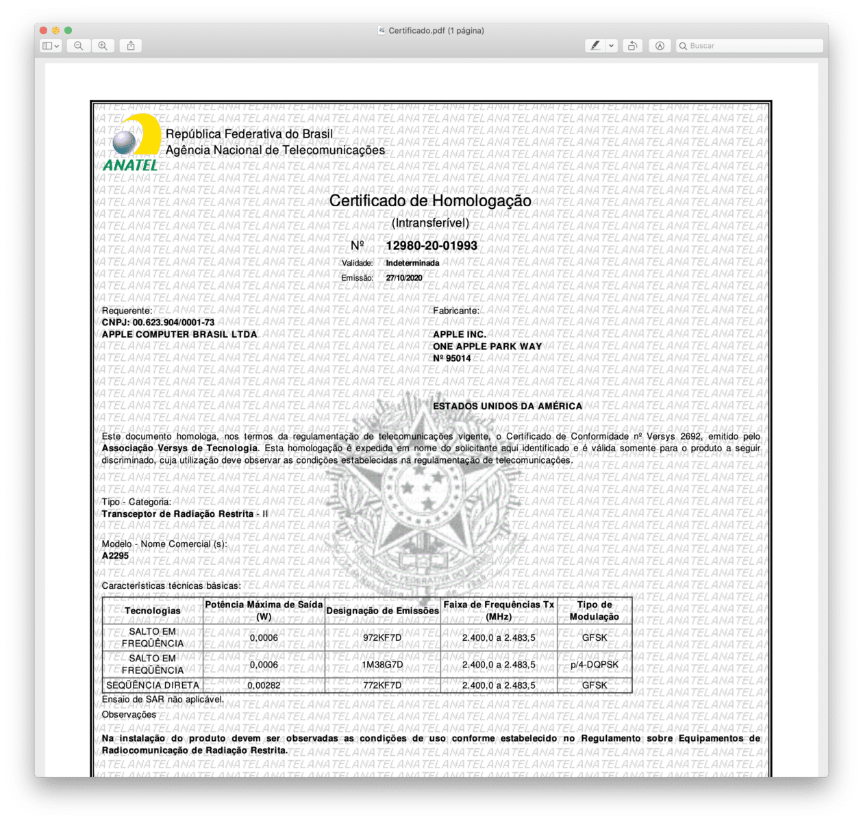 Certificado de Homologação do Beats Flex (A2295)