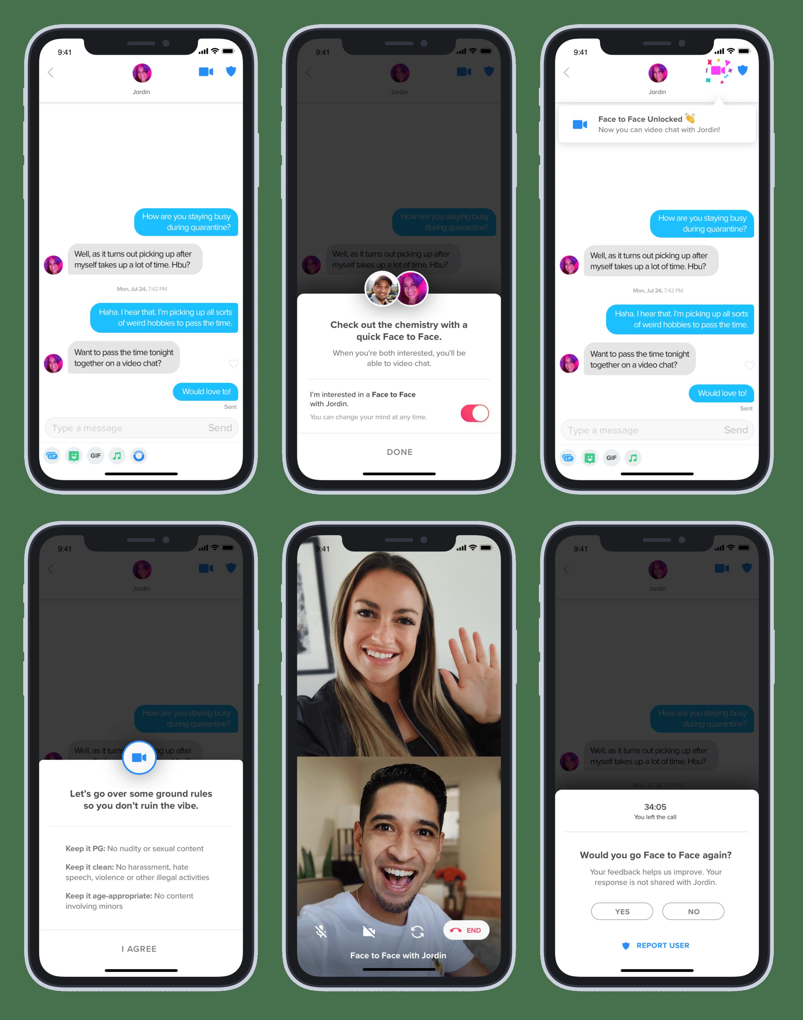 Ligação de vídeo no Tinder